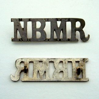 N.S.M.R. - NORTHERN BENGAL MOUNTED RIFLES silver plate on brass metal shoulder title.