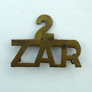 SOUTH AFRICA - 2 ZAR brass shoulder title, hand cut from shim-brass or fired cartridge  case