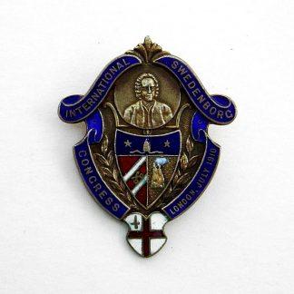INTERNATIONAL SWEDENBORG CONGRESS LONDON JULY 10 marked 'Silver' enamelled badge