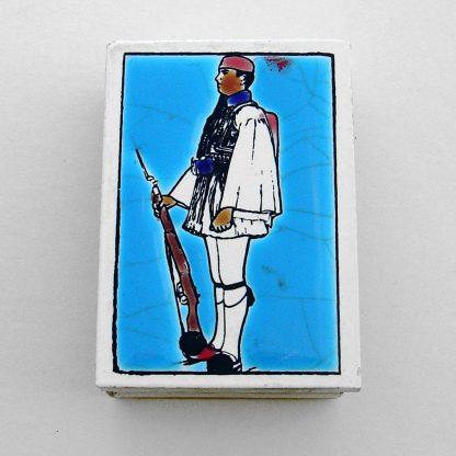 Enamelled Matchbox top - Evzone in traditional costume