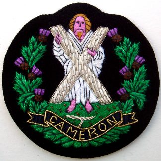 The Queen's Own Cameron Highlanders Bullion Embroidered Blazer badge